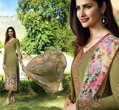 5bc6466dc8 Vinay Fashion Silkina Royal Crape 17 Straight Suit Vinay Series Printed  Embroidered Prachi Desai Fashion Formal Wear Churidar Dress Material  Singles ...