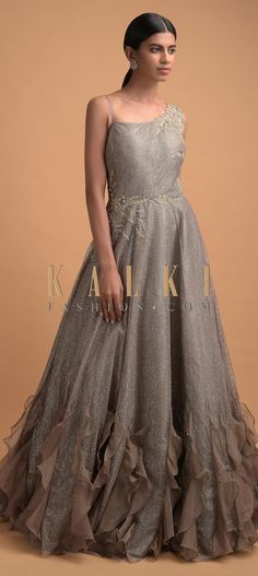 Rhino grey gown in net with shimmer stripes and raw silk under layer. Adorned with zari, sequins and thread embroidered floral pattern. Altering Jeans, Grey Gown, Reception Gown, Bodycon Dress With Sleeves, Women's Fashion Dresses, Pattern Fashion, No Frills, Hemline, Bridal Gowns