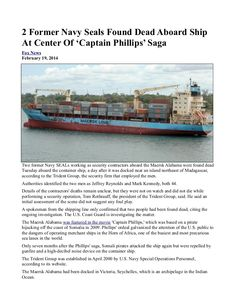 #2 Former Navy Seals Found Dead Aboard Ship At Center Of 'Captain Phillips' Saga   INFOWARS.COM  BECAUSE THERE'S A WAR ON FOR YOUR MIND