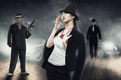 Photo-style gangsters meeting in the countryside. part of the picture belongs to the photographer Kosher Model Mayhem website with other photos taken from Google. What finally gave a picture of potryasayushuyu