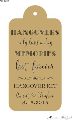 chalkboard gift tags wedding hangover kit - Google Search