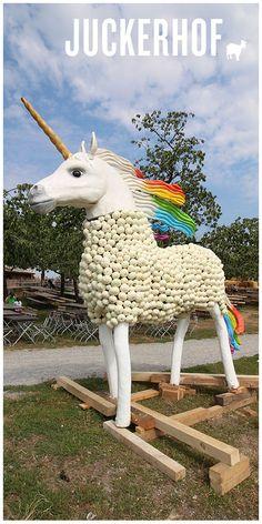 Ein Highlight der diesjährigen Kürbisausstellung auf dem Juckerhof ist das Einhorn aus Kürbis. Unter #kürbiseinhorn sammeln wir Bilder von diesem Fabelwesen. Das Unicorn steht auf dem Seeblick in Seegräben. Giraffe, Goats, Animals, Trench, Magical Creatures, Pictures, Unicorn, Sculptures, Felt Giraffe