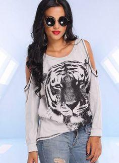 tiger print top #cutout #animalsweater