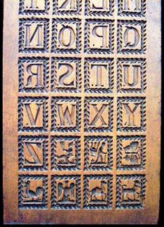 Antique alphabet board springerle mold