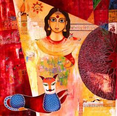 Contemporary Painting on canvass by Meenakshi Jha by MJBcottage, $1500.00