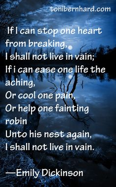 If I can stop one heart from breaking........ Emily Dickinson