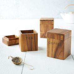 Bring rustic style into the kitchen with this canister made of natural acacia wood. Labels help you easily find your favorite coffee or tea. For a personalized gift, add a monogram.