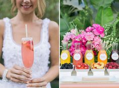 A DIY mimosa bar makes a colorful and delicious addition to any bridal shower.