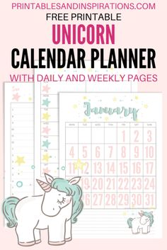 Free Printable 2021 Unicorn Calendar And Planner Pages - Printables and Inspirations Kids Planner, Student Planner Printable, Happy Planner, Free Planner Pages, Calendar Printable, Planner Ideas, Free Calender, Kids Calendar, Calendar Time