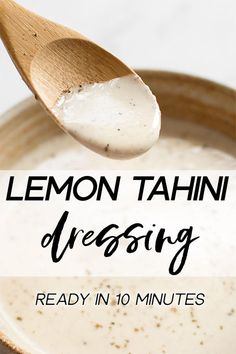 This simple vegan lemon tahini dressing is perfect on salads roasted vegetables and grains. It's healthy and delicious. Sweeten it with honey or maple syrup and add as much garlic as you wish. You can thin it to your desired consistency. Vegetarian Recipes, Healthy Recipes, Vegetarian Grilling, Healthy Grilling, Dinner Healthy, Healthy Food, Whole Food Recipes, Cooking Recipes, Lemon Tahini Dressing