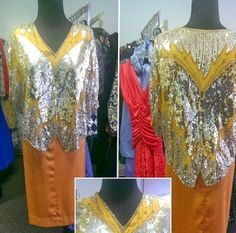 Vintage 1980s butterfly sequin 2pc set in excellent vintage condition best fit size 5/6 clean and ready for wear