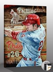 """Chase Utley """"The Natural"""" Art Reproduction on Canvas by Justyn Farano - #Phillies"""