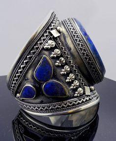 Ring | Afghani Tribal Ornate Lapis & Silver Cuff