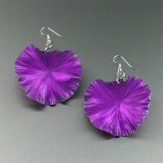 Violet anodized aluminum earrings.