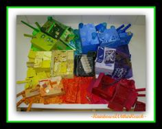 """photo of: Rainbow Bulletin Board Assemblage of """"UpCycled"""" Materials (from Bulletin Board Round-UP)"""