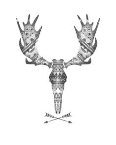 Aztec Moose Skull Print at Society 6
