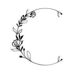 Symbol Tattoos, Circle Drawing, Wreath Drawing, Drawing Frames, Flower Circle, Floral Drawing, Embroidery Patterns Free, Border Design, Flower Tattoos