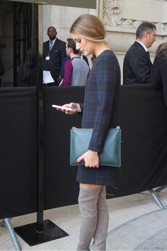 OP - plaid, gray boots. That clutch. Perfect.