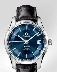 OMEGA Watches: De Ville Hour Vision - Steel on leather strap - 431.33.41.21.03.001