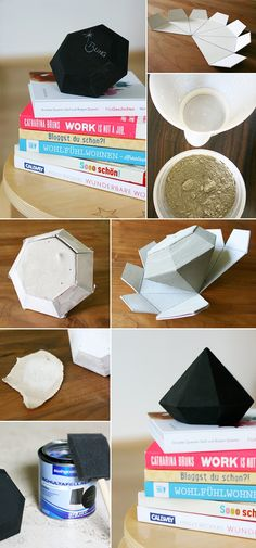 Gingered Things – DIY, Deko & Wohndesign: Diamant aus Zement und Tafellack Gingered Things – DIY, deco & home design: Cement Art, Concrete Crafts, Concrete Projects, Concrete Design, Deco Originale, Ideias Diy, Diy Projects To Try, Diy Art, Diy And Crafts