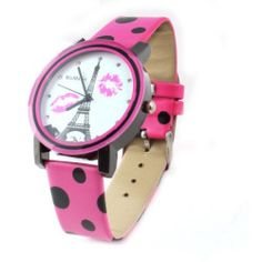 Women Lady Round Dial Adjustable Fuchsia Faux Leather Band Watch