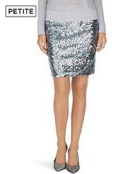 Petite Silver Sequin Mini Skirt - WHBM