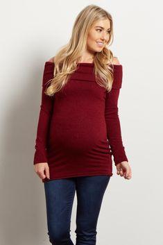 Burgundy Off Shoulder Maternity Knit Top