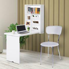 Wall Mounted Folding Table, Wall Mounted Desk, Wall Desk, Ikea Folding Desk, Modern Home Office Desk, Modern Home Offices, Bookshelf Desk, Desk Hutch, Bookshelves