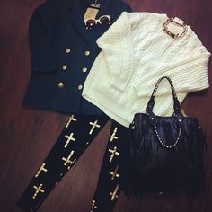Sweater Leggings and Purse