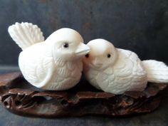 birds in a nest figurinehand carved bird by CodettiSupply on Etsy