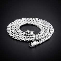 10mm Cuban Link Chain Necklace for Men - 925 Sterling Silver