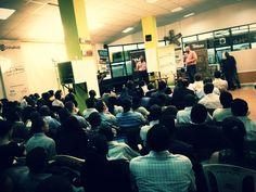 Safaricom CEO Bob Collymore speaks at the iHub in Nairobi.