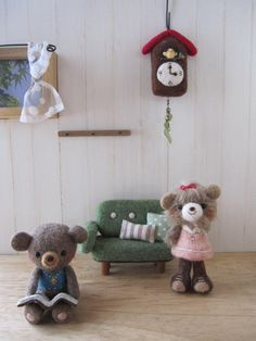 super cute kawaii needle felt teddy bear cottage scene