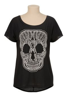 high-low Embroidered Skull Tee (original price, $26) available at #Maurices