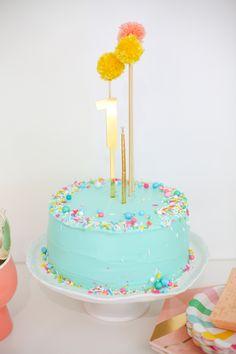 Make A Sprinkle Cake With Pompom Topper