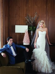 Dress: Mikaella, Style 1850 Veil: White Toronto Necklace: Swarovski Clutch: Davids Ring: Pamela Lauz  On groom Jacket and bow tie: Harry Rosen Shirt and pants: Freeman Formalwear Shoes: Town Shoes Ring: Pamela Lauz Watch: Thomas Sabo  Macaron tower: NADÈGE
