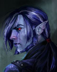 Teival by AnzaharTheWizard on DeviantArt dark elf / drow with earring elemental power blues with red eyes Anime Art Fantasy, Fantasy Male, Fantasy Artwork, Dark Fantasy, Elf Characters, Dungeons And Dragons Characters, Fantasy Characters, Fantasy Portraits, Character Portraits