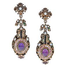Austro-Hungarian Gold Amethyst Natural Pearl & Enamel Earrings, circa 1880