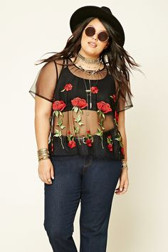 8f272155a8c Forever 21+ - A sheer woven mesh top featuring embroidered roses on the  front and