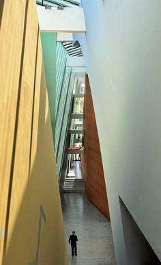 Hergé museum in Louvain-La-Neuve, Brabant province, Belgium #tintin. Tall walls, post-modern architecture