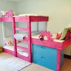 Kids Room Ideas - Up, Up, and Away! | If simple and bright is more your style, build these basic trilevel bunk beds to squeeze three young kids into one room. Using just one mattress per bed keeps the bunks low enough to fit comfortably in a room with eight-foot ceilings. Staggering the middle bunk gives adequate headroom for each and opens up space to slide in an upcycled filing cabinet for clothing or toy storage.