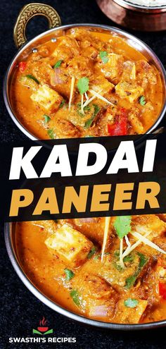 Kadai paneer is a spicy, warming, flavorful and super delicious dish made by cooking paneer & bell peppers in a fragrant, fresh ground spice powder. This uniquely flavored and spiced kadai paneer .. Paneer Recipes, Curry Recipes, Vegetarian Recipes, Cooking Recipes, Vegetable Curry, Vegetable Recipes, Paneer Dishes, Indian Food Recipes, Ethnic Recipes