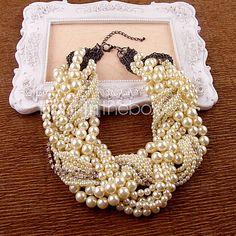 entrelazado de las mujeres collar de perlas