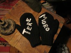 "Wool mittens for my brother. Reflective fabric cut and glued to the palm side. Finnish ""slang"" greetings Tere- Cheerio, moro - hi"