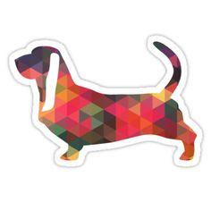 Basset Hound Colorful Geometric Pattern Silhouette by TriPodDogDesign