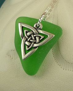 Celtic Knot Sea Glass Necklace Kelly Green by seaglassgems4you, $27.00