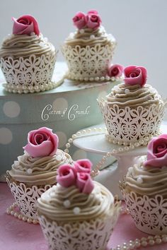 Mini vintage rose cupcakes- lace,pearls and rose pink n white simple yet cute