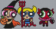 The Powerpuff Girls In Halloween Costumes (Square) by Maninthebook on Kandi Patterns