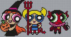The Powerpuff Girls In Halloween Costumes Perler Bead Pattern