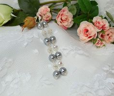Black Pearl with Beautiful Silver Flowers